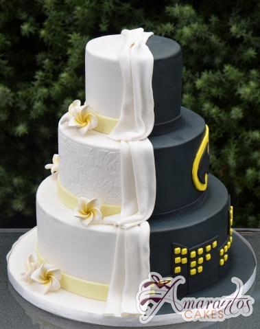 Three Tier Half and Half Wedding Cake - Amarantos Celebration Cakes Melbourne