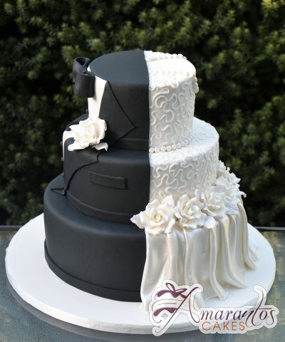 Three Tier Half and Half Wedding Cake - Amarantos Cakes Melbourne