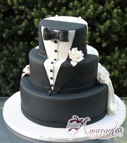 Three Tier Half and Half Wedding Cake - Amarantos Designer Cakes Melbourne