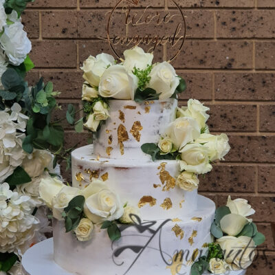 WC39 three tier semi naked wedding cake