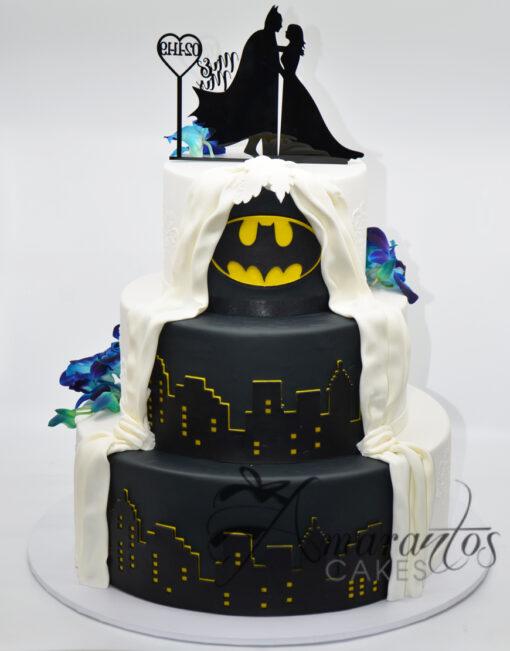 WC43 Three tier Wedding cake with batman theme on Back