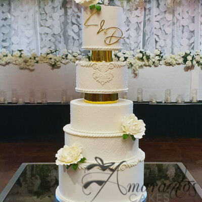 Seven tier Wedding Cake with Initials - WC47