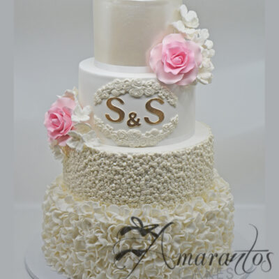Four tier Textured Wedding Cake - WC48