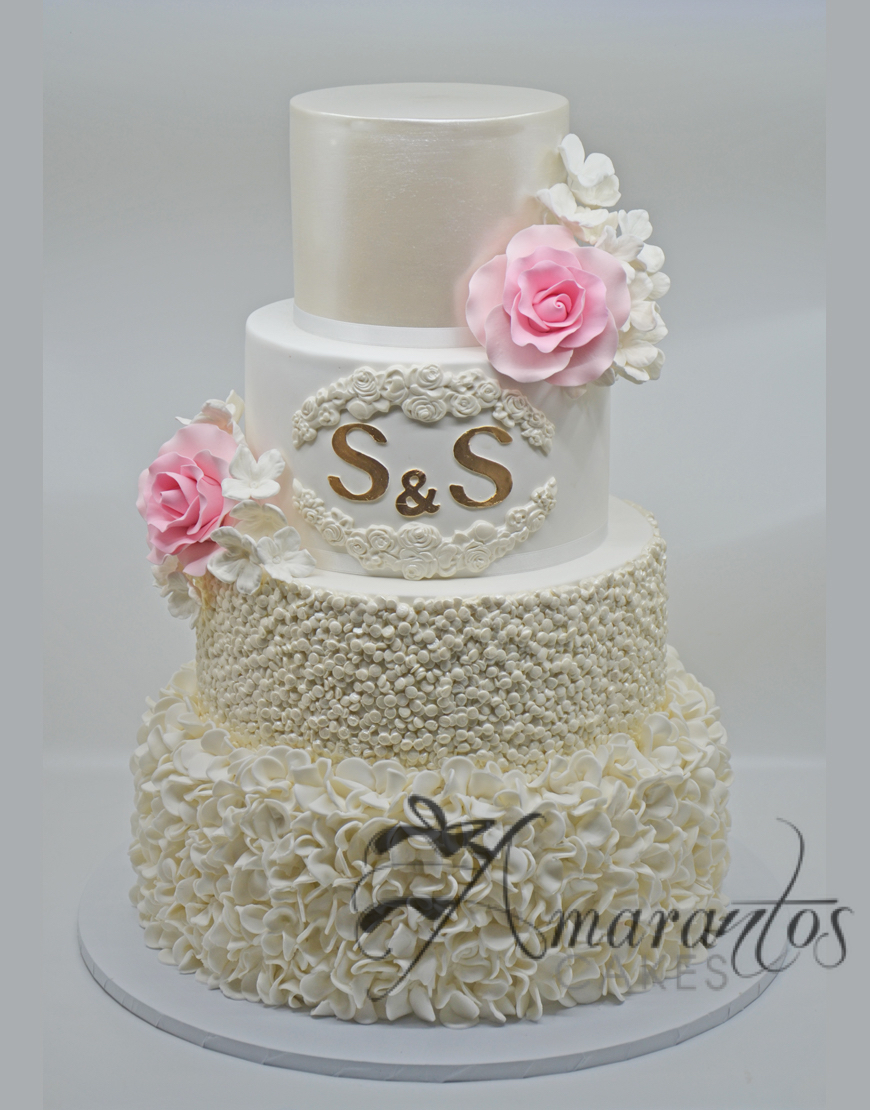 Four tier Textured Wedding Cake - WC48