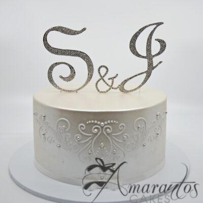 Round Cake with Diamante Initials - WC49