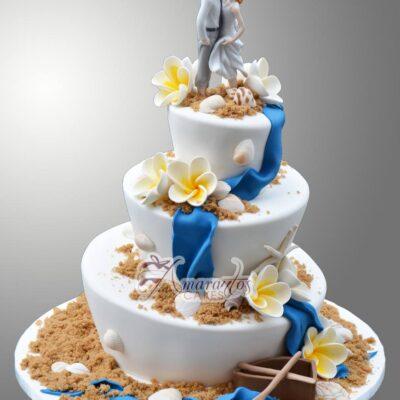 Beach theme wedding cake WC87